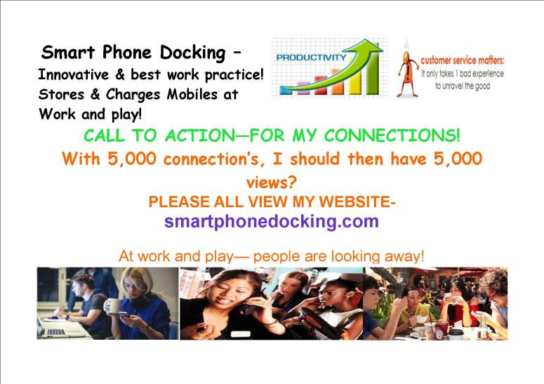 Post 105, callling on connections to look at my site 25th Aug -2016 smart docking jpg